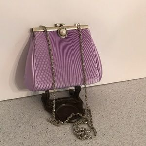 Lavender satin evening bag mini purse pearl clasp